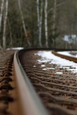 Railroad, track, snow, hazy