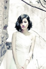 Preview iPhone wallpaper Short hair Asian girl, white skirt