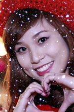 Preview iPhone wallpaper Smile Asian girl, winter, snow, hat, love heart