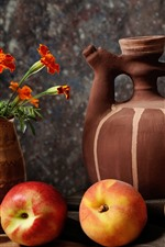 Preview iPhone wallpaper Still life, peach, pear, kettle, flowers