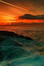 Preview iPhone wallpaper Sunset, blue sea, water stream, clouds, red sky