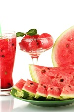 Preview iPhone wallpaper Watermelon, drinks, glass cup, white background