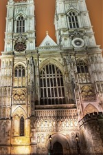 Preview iPhone wallpaper Westminster Abbey, buildings, trees, lights, night, city, London