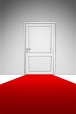 iPhone壁紙のプレビュー 白いドア、赤いカーペット、創造的なデザイン
