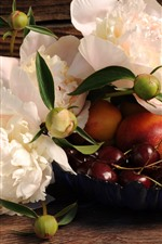 Preview iPhone wallpaper White peonies, cherries, flowers, peach