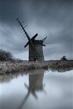 Preview iPhone wallpaper Windmill, ruins, river, grass, dusk
