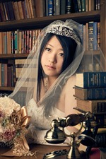 Preview iPhone wallpaper Asian girl, bride, veil, books, flowers