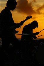 Preview iPhone wallpaper Band, music, people, sunset, silhouette