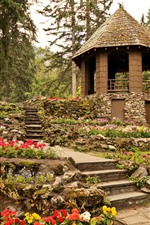 Banff National Park, garden, gazebo, trees, Canada