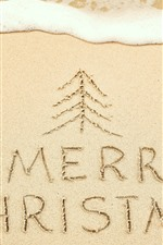 Preview iPhone wallpaper Beach, sands, Merry Christmas, foam