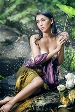 Preview iPhone wallpaper Beautiful Asian girl, sexy, water droplets, green leaves, pose