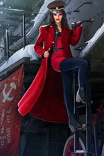 Preview iPhone wallpaper Beautiful Russian girl, train, red coat, winter, art picture