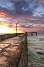 Vorschau des iPhone Hintergrundbilder Wellenbrecher, Meer, Wolken, Sonnenuntergang