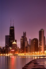 Chicago, skyscrapers, lights, river, night, city, USA