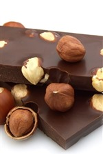 Preview iPhone wallpaper Chocolate, nuts, sweet food, white background