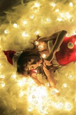 Preview iPhone wallpaper Christmas girl, sleeping, lights