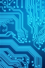 Preview iPhone wallpaper Circuit board, blue lines