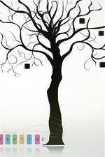 iPhone壁紙のプレビュー クリエイティブなデザイン、木、本、猫、傘