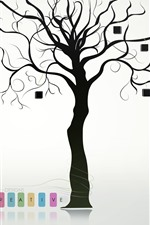 Preview iPhone wallpaper Creative design, tree, books, cat, umbrella
