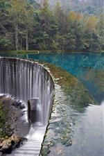 Croatia, waterfall, trees, lake, stones