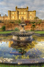 Preview iPhone wallpaper Culzean Castle, fountain, meadow, Scotland, HDR style