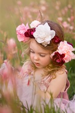Preview iPhone wallpaper Cute little girl, child, wreath, flowers, grass