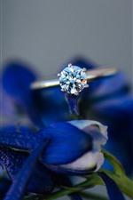 Anel de diamante, flores azuis, nebuloso