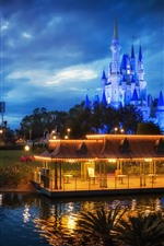 Preview iPhone wallpaper Disneyland, castle, night, lights, gazebo, clouds