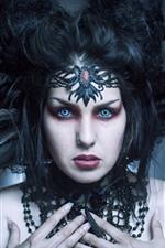 Garota fantasia, rosto, olhos azuis, penas