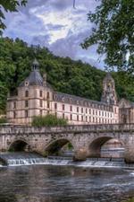 France, bridge, river, castle, trees, green