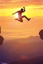 Preview iPhone wallpaper From Year 2020 to New Year 2021, jumping, sunrise