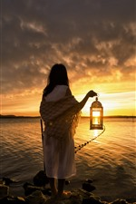 Girl, back view, lantern, sea, sunset, clouds