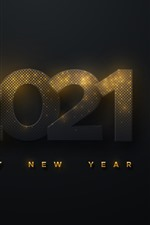 Preview iPhone wallpaper Happy New Year 2021, black background, golden light