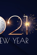 Preview iPhone wallpaper Happy New Year 2021, clock, fireworks, shine