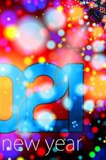 Feliz Ano Novo 2021, fundo colorido, círculos de luz, brilho, criativo