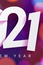 Feliz Ano Novo de 2021, fundo colorido com círculos de luz