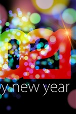 Preview iPhone wallpaper Happy New Year 2021, colorful, light circles, shine, creative