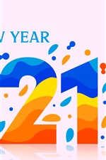Preview iPhone wallpaper Happy New Year 2021, colorful vector