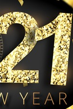 Preview iPhone wallpaper Happy New Year 2021, golden style, clock