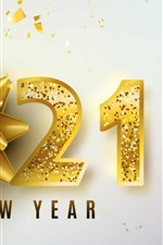 Preview iPhone wallpaper Happy New Year 2021, golden style