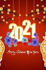 Happy New Year 2021, ox, flowers, red background