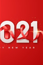 Feliz Ano Novo 2021, fundo vermelho, fita