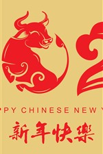Preview iPhone wallpaper Happy New Year 2021, red style, year of ox