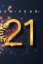 Preview iPhone wallpaper Happy New Year 2021, snowflake, shine, golden
