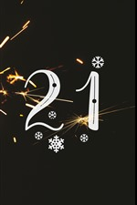 Preview iPhone wallpaper Happy New Year 2021, sparks, shine