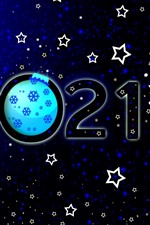 Preview iPhone wallpaper Happy New Year 2021, stars, flowers, snowflakes