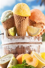 Ice cream, fruits, beach, tropical