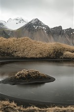 Preview iPhone wallpaper Iceland, mountains, grass, puddle