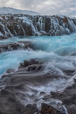 Iceland, waterfall, stream, water, rocks, snow