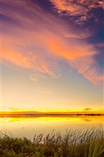 Preview iPhone wallpaper Lake, grass, evening, sunset, sky, clouds